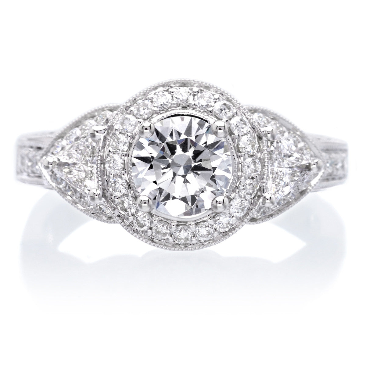 Glamorous Mixed Shape Three Stone Diamond Engagement Ring