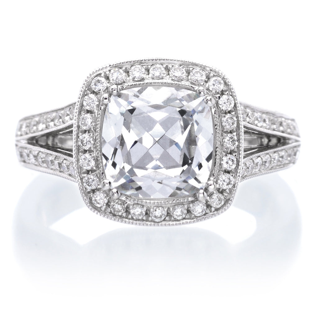 b cushion engagement w prong shared cut product ring r diamond