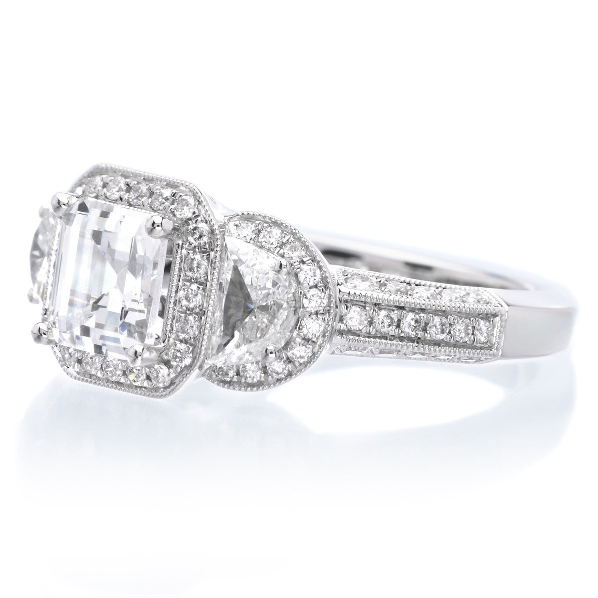 18K White Gold Three-Stone Emerald-Cut Halo Engagement Ring Setting