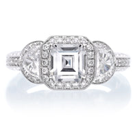 Unique Three Stone Diamond Halo Engagement Ring