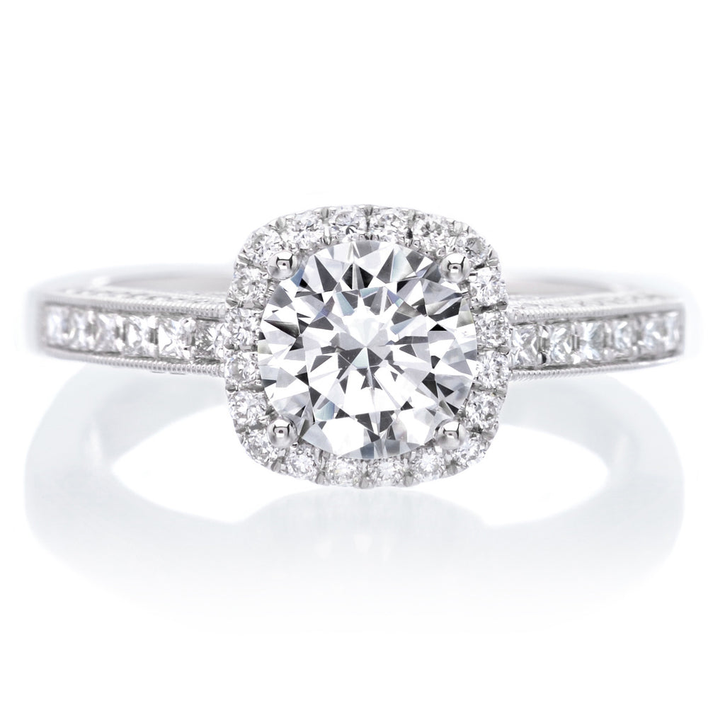 d3a094ca6 18K White Gold Princess-Cut Halo Engagement Ring | Long's Jewelers