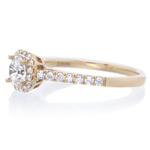 14K Yellow Gold Classic Petite Halo Engagement Ring Setting