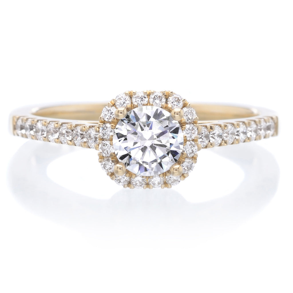 Classic Petite Round Brilliant Diamond Engagement Ring 14K Yellow Gold  Classic Petite Halo ... 3c5f894eeef2