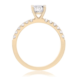 14K Yellow Gold Classic Prong-Set Engagement Ring Setting