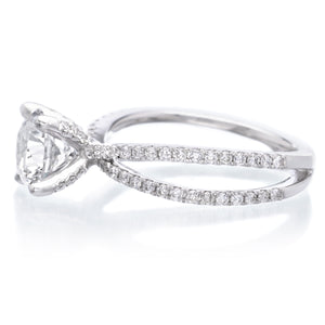 18K White Gold Split-Shank Engagement Ring Setting
