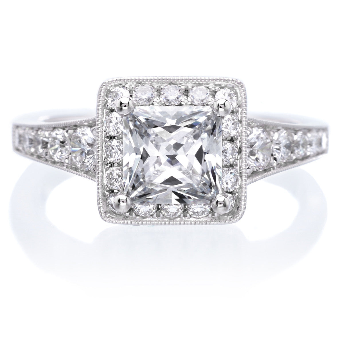 Vintage Princess Brilliant Diamond Engagement Ring