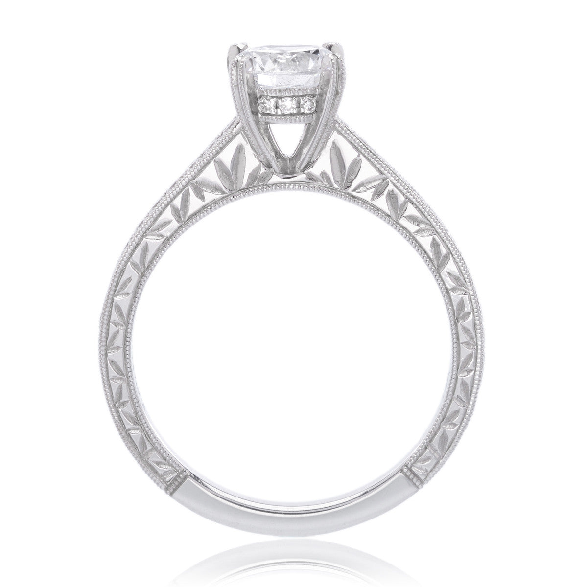 14K White Gold Classic Engagement Ring Setting