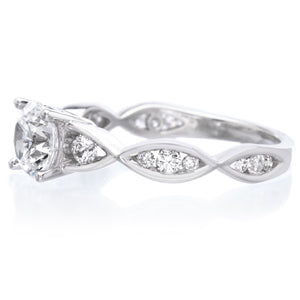 18K White Gold Unique Twisted Band Engagement Ring Setting