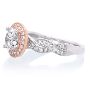 14K Rose and White Gold Criss-Cross Halo Engagement Ring Setting