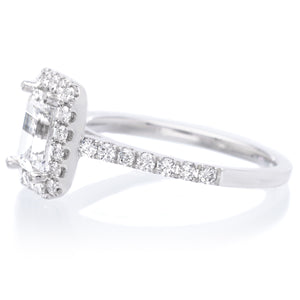 18K White Gold Classic Emerald-Cut Halo Engagement Ring Setting