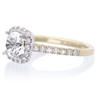 14K Two-Tone Modern Cushion Halo Engagement Ring Setting