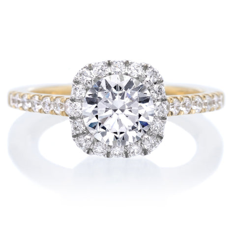 Modern Square Halo Diamond Engagement Ring