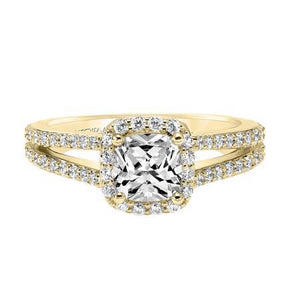 18K Yellow Gold Diamond Halo Engagement Ring