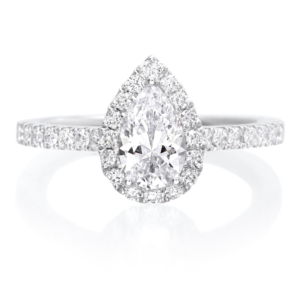 18K White Gold Pear Halo Engagement Ring