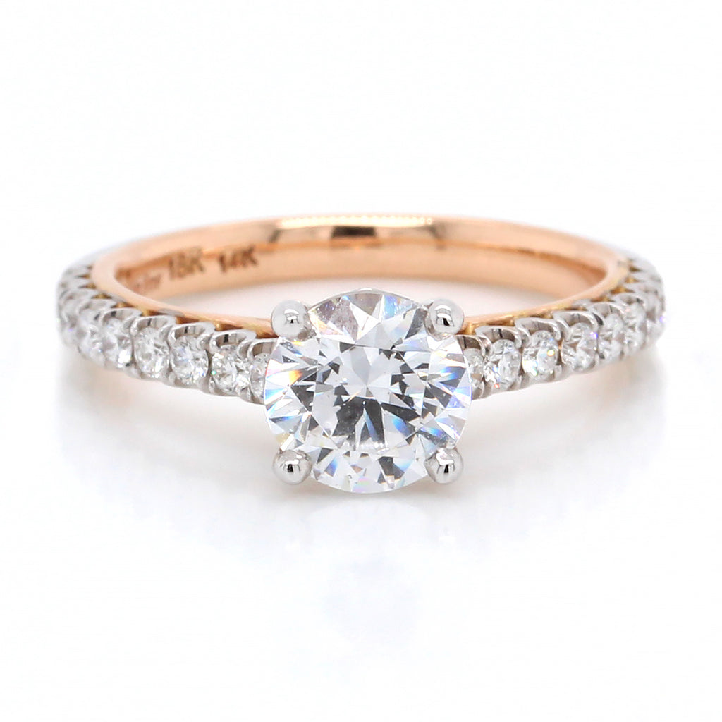 18K White and Rose Gold Brilliant Cut Engagement Ring