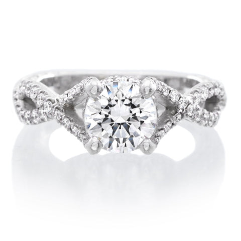 18K White Gold Brilliant Cut Twist Gallery Design Engagement Ring