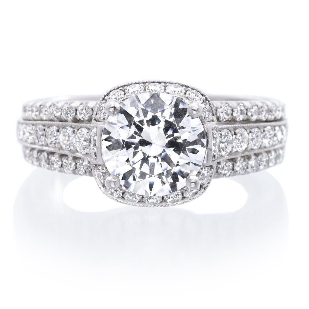 Platinum Halo Three Row Milgraine Engagement Ring