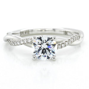 18K White Gold Twisted Shank Engagement Ring Setting