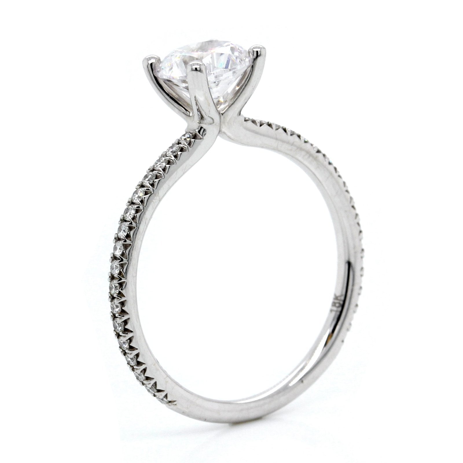 18K White Gold Pave Engagement Ring Setting
