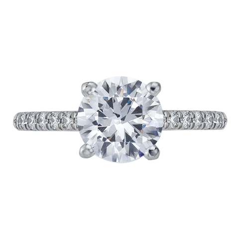 Platinum Halfway Round Center Diamond Engagement Ring