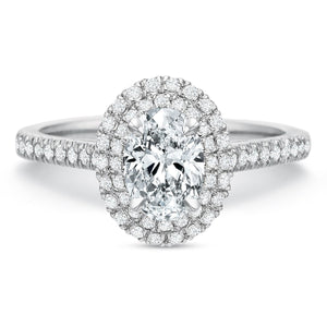 Platinum New Aire Petite Oval Double Halo Engagement Ring