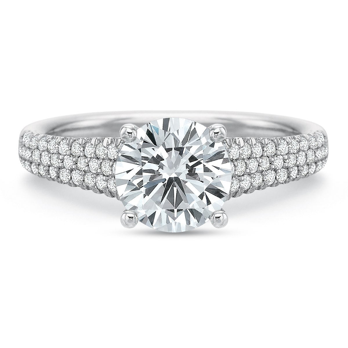 Platinum Classic Modern Tapered Pave Shank Engagement Ring Setting