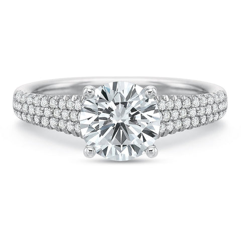 Platinum Classic Modern Tapered Pave Shank Engagement Ring