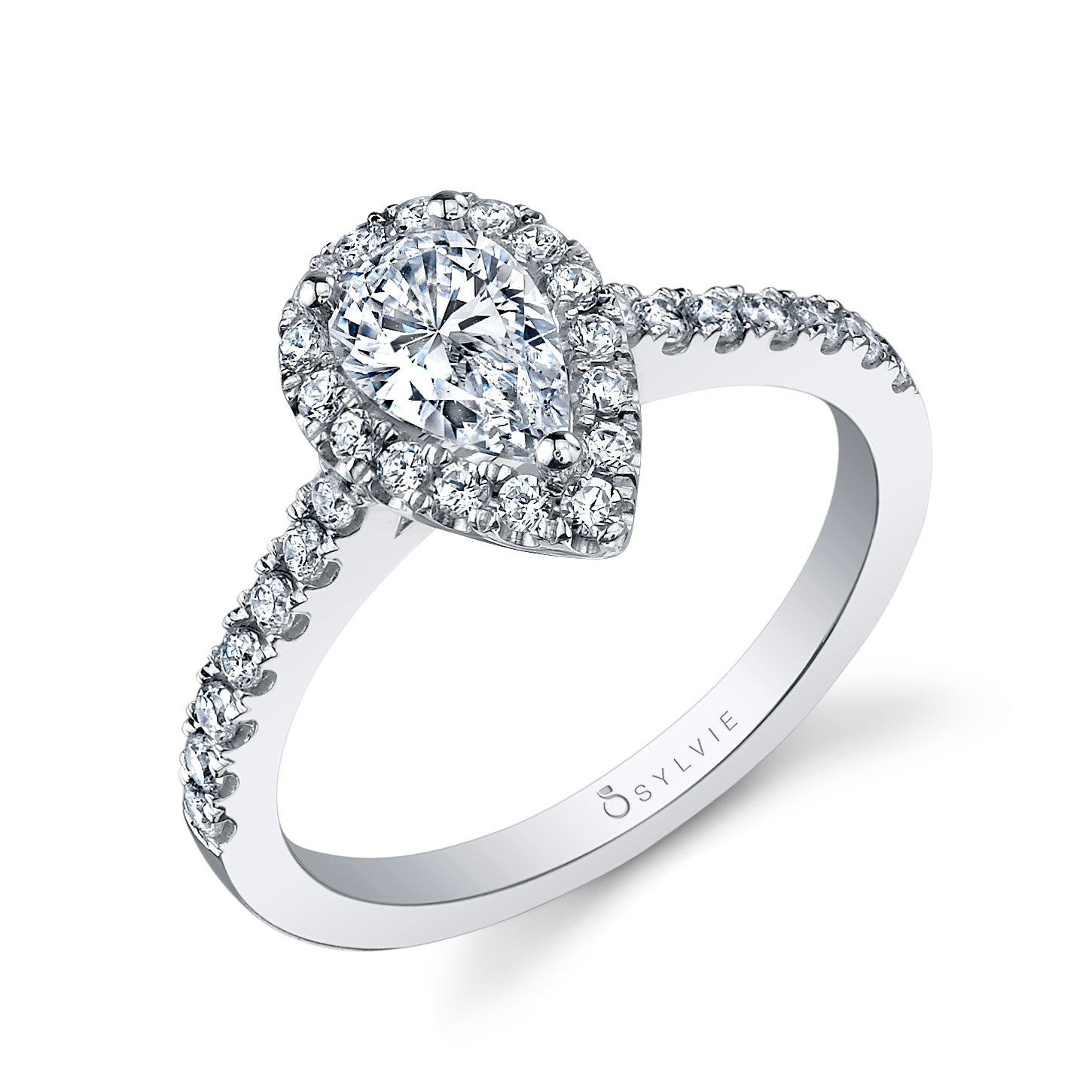 18K White Gold Pear Shaped Halo Engagement Ring Setting