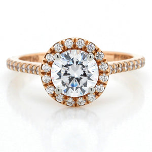 18K Rose Gold Halo Pave Engagement Ring