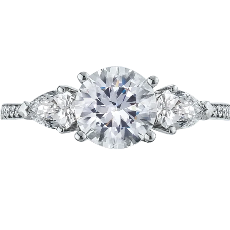 Platinum Three-Stone Round and Pear Side Stone Engagement Ring