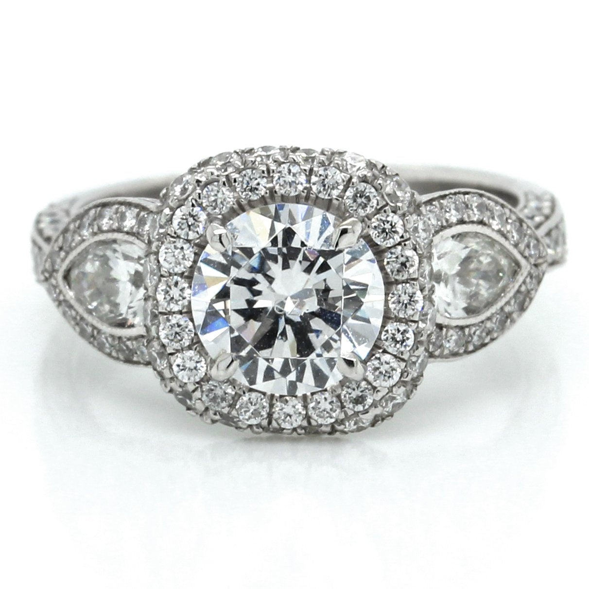 Platinum Halo Engagement Ring with Pave Pear Sides