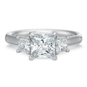 Platinum New Flush Fit Princess Cut Three-Stone Engagement Ring Setting