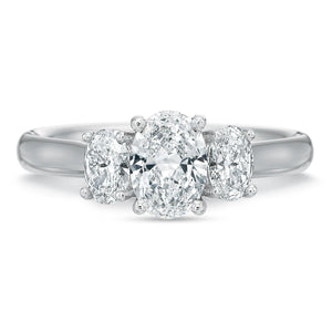 Platinum New Flush Fit Three-Stone Oval Engagement Ring Setting