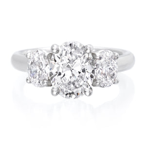 Platinum Three-Stone Oval Engagement Ring Setting