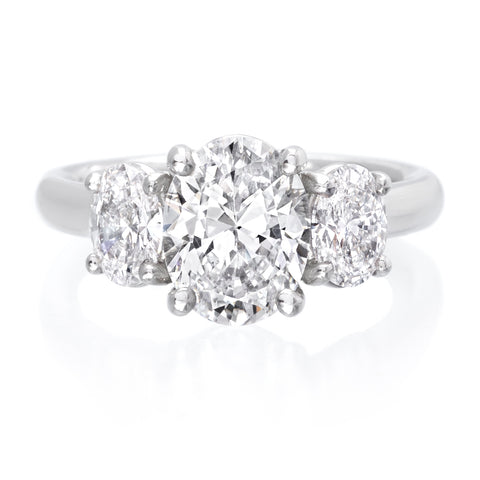 Platinum Oval Three-Stone Engagement Ring