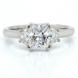 Platinum New Flush Fit Three-Stone Engagement Ring Setting with Brilliant Trapezoid Sides