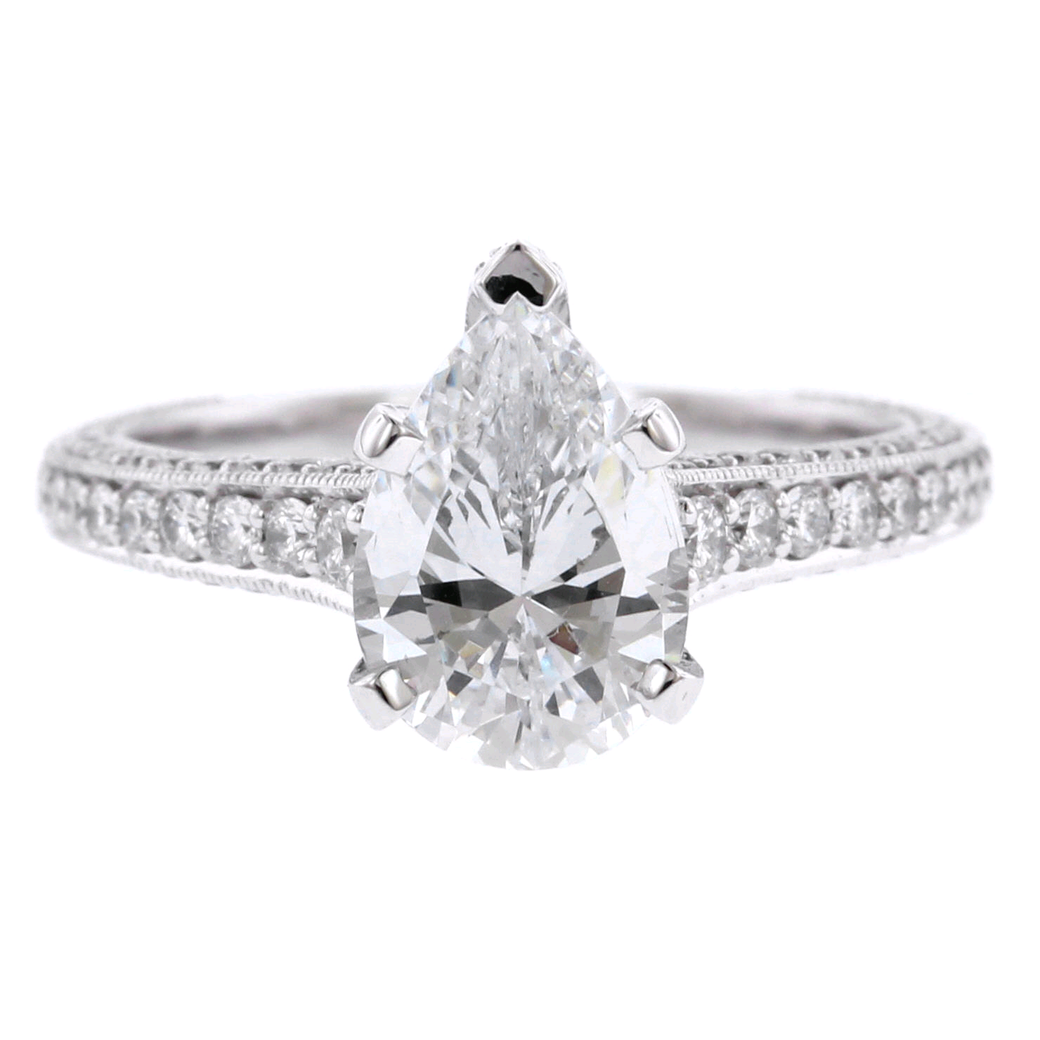 Platinum Pear Shaped Classic Engagement Ring Setting