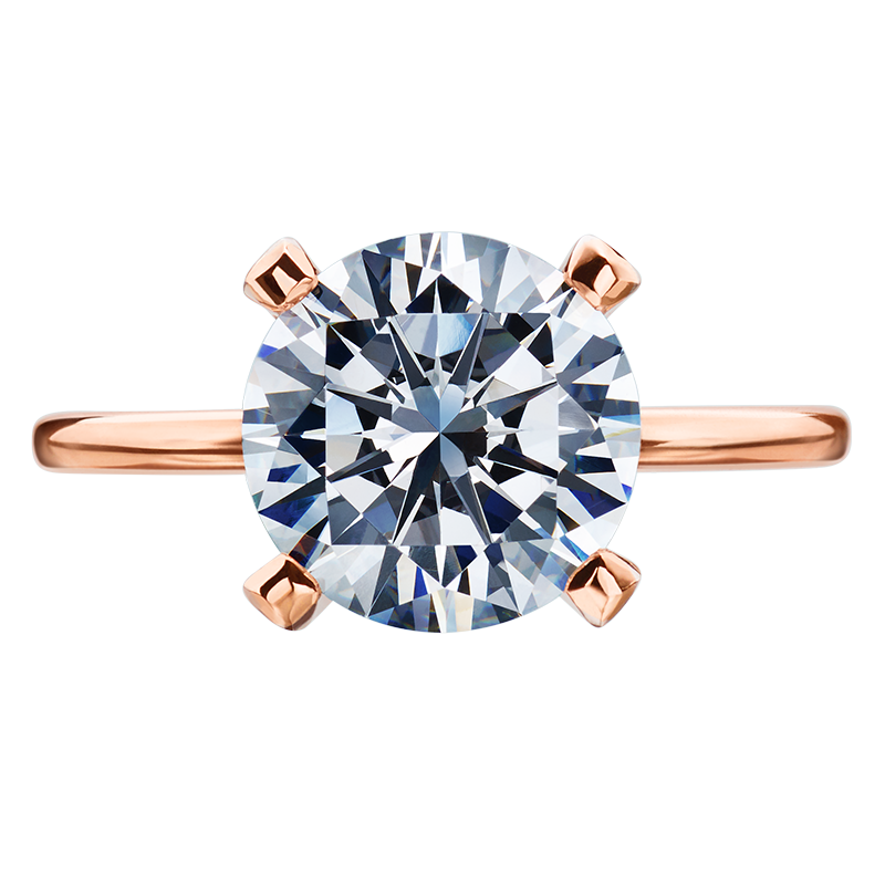 18K Rose Gold and Platinum Four Prong Diamond Engagement Ring