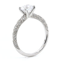 18K White Gold Ribbon Pave Engagement Ring Setting