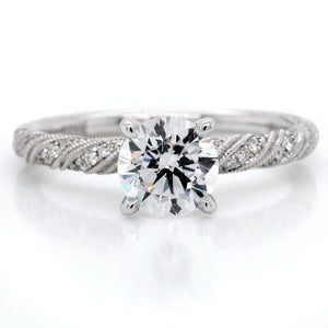 18K White Gold Ribbon Pave Engagement Ring