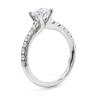 18K White Gold Graduated Shoulder Engagement Ring Setting