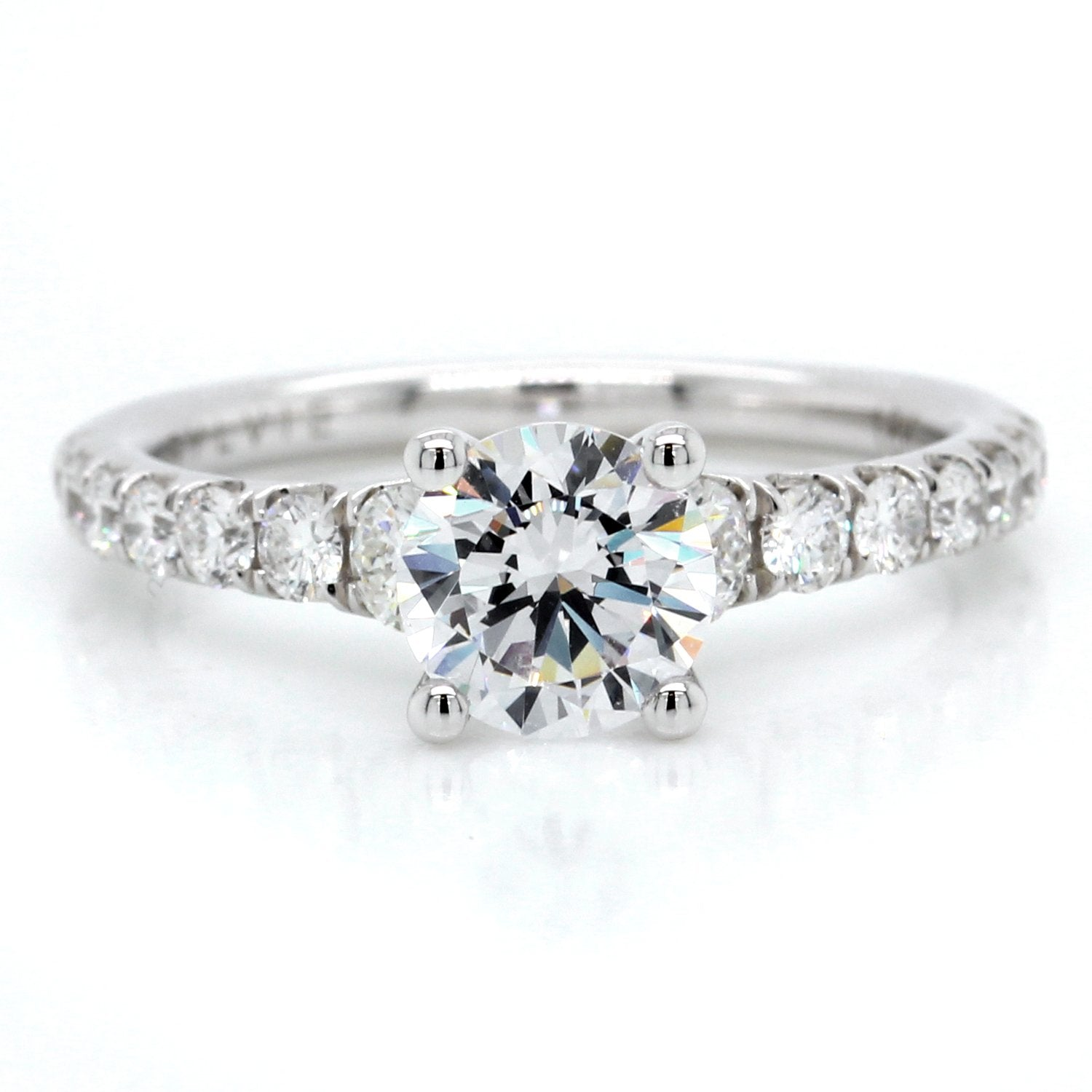 18K White Gold Graduated Shoulder Engagement Ring