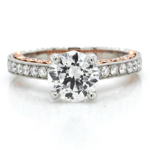 Platinum and 14K Rose Gold Three-Sided Milgrain Engagement Ring