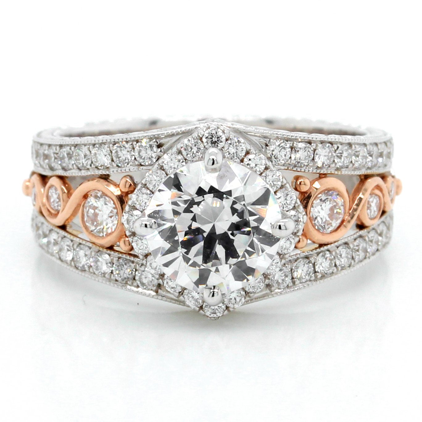 18K White Gold and 14K Rose Gold Three Row Milgrain Halo Engagement Ring