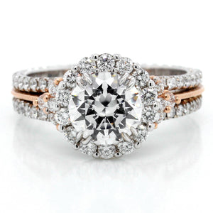 18K White Gold and 14K Rose Gold Tri-Shank Halo Engagement Ring