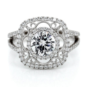 18K White Gold Cushion Halo Milgrain Engagement Ring
