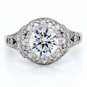 14K White Gold Cushion Halo Milgrain Engagement Ring