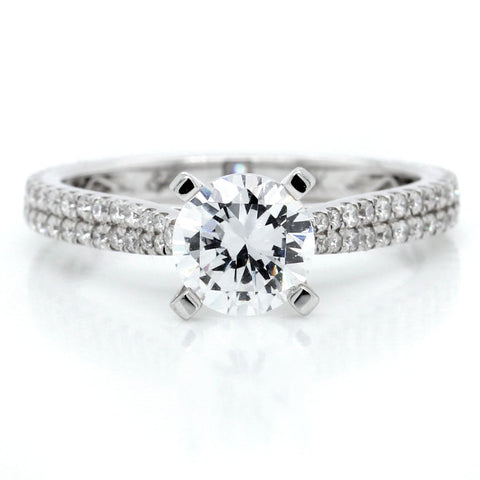 18K White Gold Two-Row Engagement Ring