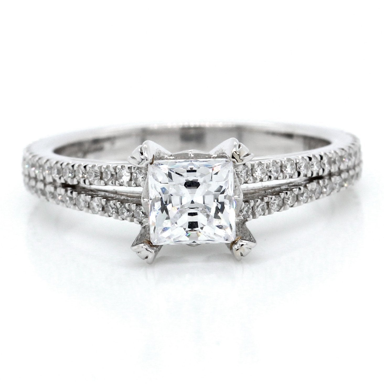 18K White Gold Split Shank Engagement Ring