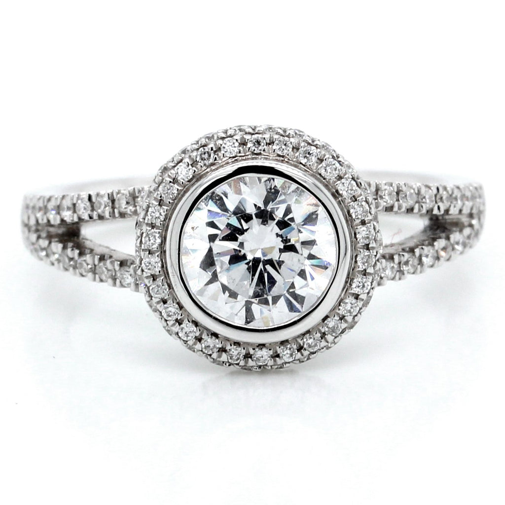 18K White Gold Diamond Halo Bezel Split Shank Engagement Ring